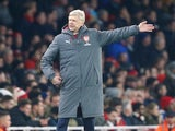Arsene Wenger gestures during the Premier League game between Arsenal and Manchester United on December 2, 2017