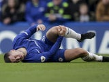 Eden Hazard goes down injured during the Premier League game between Chelsea and Newcastle United on December 2, 2017