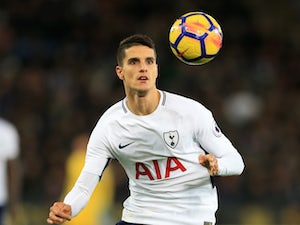 Tottenham Hotspur midfielder Erik Lamela in action during his side's Premier League clash with Leicester City at the King Power Stadium on November 28, 2017