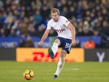 Tottenham Hotspur striker Harry Kane in action during his side's Premier League clash with Leicester City at the King Power Stadium on November 28, 2017
