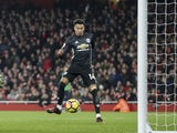 Jesse Lingard scores his second of the afternoon during the Premier League game between Arsenal and Manchester United on December 2, 2017