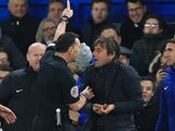 Neil Swarbrick sends Antonio Conte to the stands during the Premier League game between Chelsea and Swansea City on November 29, 2017