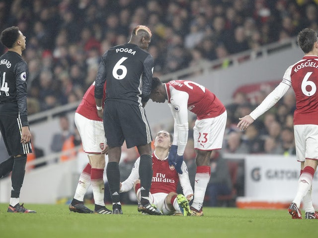 Paul Pogba is sent off for his mistreatment of Hector Bellerin during the Premier League game between Arsenal and Manchester United on December 2, 2017