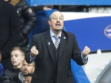 Rafael Benitez gives instructions during the Premier League game between Chelsea and Newcastle United on December 2, 2017