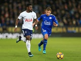 Tottenham Hotspur defender Serge Aurier in action during his side's Premier League clash with Leicester City at the King Power Stadium on November 28, 2017