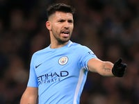 Sergio Aguero watches on during the Premier League game between Manchester City and West Ham United on December 3, 2017