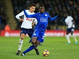 Leicester City midfielder Wilfred Ndidi in action during his side's Premier League clash with Tottenham Hotspur at the King Power Stadium on November 28, 2017