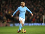 David Silva in action during the Premier League game between Manchester United and Manchester City on December 10, 2017