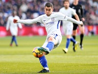 Eden Hazard in action during the Premier League game between West Ham United and Chelsea on December 9, 2017