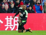 Jermain Defoe celebrates after opening the scoring in the Premier League match between Crystal Palace and Bournemouth on December 9, 2017