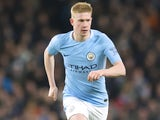 Kevin De Bruyne in action during the Premier League game between Manchester City and West Ham United on December 3, 2017