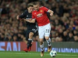Luke Shaw and Fyodor Chalov during the Champions League match between Manchester United and CSKA Moscow on December 5, 2017