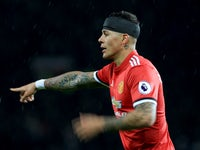 A bandaged Marcos Rojo during the Premier League game between Manchester United and Manchester City on December 10, 2017