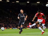 Manchester United's Marcus Rashford shoots during the Champions League match against CSKA Moscow on December 5, 2017