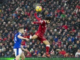 Mohamed Salah in action against Jonjoe Kenny during the Premier League game between Liverpool and Everton on December 10, 2017