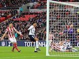 Ryan Shawcross scores an own goal in the Premier League match between Tottenham Hotspur and Stoke City on December 9, 2017