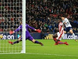 Son Heung-min scores Tottenham Hotspur's second goal in their Premier League match against Stoke City on December 9, 2017