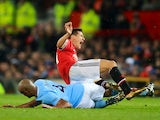 Vincent Kompany fouls Ander Herrera during the Premier League game between Manchester United and Manchester City on December 10, 2017