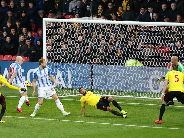 Aaron Mooy scores the Terriers' second during the Premier League game between Watford and Huddersfield Town on December 16, 2017