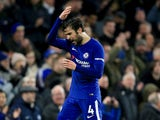A frustrated Cesc Fabregas during the Premier League game between Chelsea and Southampton on December 16, 2017