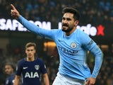 Ilkay Gundogan celebrates scoring during the Premier League game between Manchester City and Tottenham Hotspur on December 16, 2017