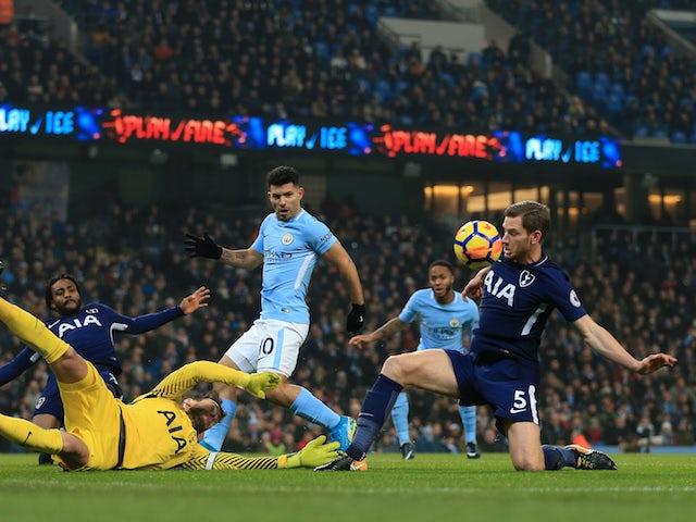 Jan Vertonghen blocks a cross during the Premier League game between Manchester City and Tottenham Hotspur on December 16, 2017