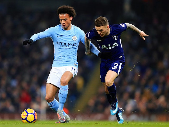 Leroy Sane and Kieran Trippier in action during the Premier League game between Manchester City and Tottenham Hotspur on December 16, 2017