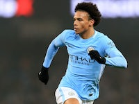 Leroy Sane in action during the Premier League game between Manchester City and Tottenham Hotspur on December 16, 2017