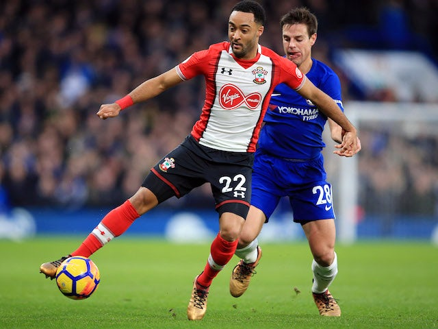 Nathan Redmond and Cesar Azpilicueta in action during the Premier League game between Chelsea and Southampton on December 16, 2017