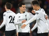 Philippe Coutinho celebrates scoring during the Premier League game between Bournemouth and Liverpool on December 17, 2017