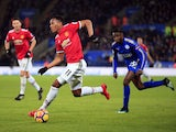 Anthony Martial and Wilfred Ndidi during the Premier League match between Leicester City and Manchester United on December 23, 2017