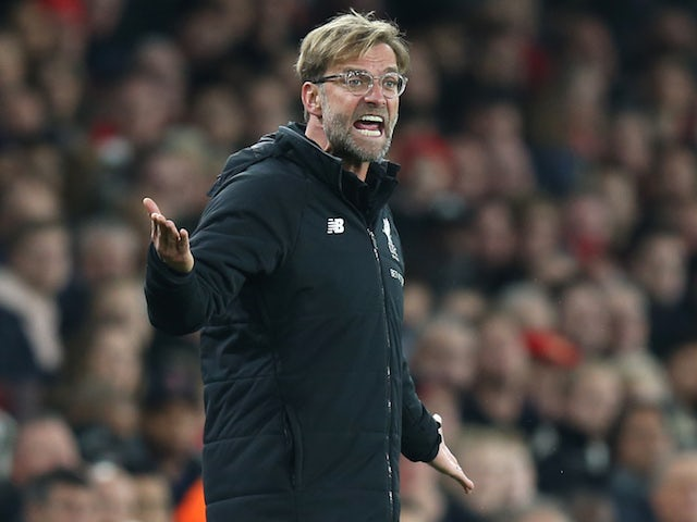 A menacing Jurgen Klopp during the Premier League game between Arsenal and Liverpool on December 22, 2017