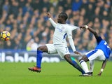 Idrissa Gueye and N'Golo Kante in action during the Premier League match between Everton and Chelsea on December 23, 2017