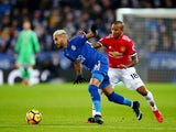 Riyad Mahrez and Ashley Young during the Premier League match between Leicester City and Manchester United on December 23, 2017