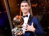 Cristiano Ronaldo with the Ballon d'Or on December 7, 2017