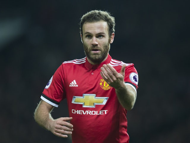 Juan Mata in action during the Premier League game between Manchester United and Southampton on December 30, 2017