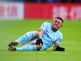 Gabriel Jesus goes down injured during the Premier League game between Crystal Palace and Manchester City on December 31, 2017