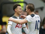 Tottenham Hotspur midfielder Dele Alli celebrates with Harry Kane during the Premier League clash with Watford at Vicarage Road on January 1, 2017