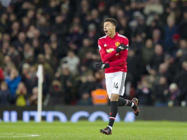 Jesse Lingard celebrates pulling one back during the Premier League game between Manchester United and Burnley on December 26, 2017