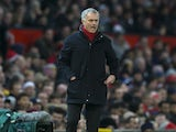 Jose Mourinho watches on during the Premier League game between Manchester United and Burnley on December 26, 2017