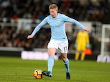 Kevin De Bruyne in action during the Premier League game between Newcastle United and Manchester City on December 27, 2017