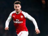 Mathieu Debuchy in action for Arsenal in the EFL Cup on Dec 19, 2017