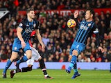 The ball appears to hit the arm of Maya Yoshida during the Premier League game between Manchester United and Southampton on December 30, 2017