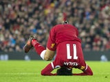 Mohamed Salah has a roll during the Premier League game between Liverpool and Swansea City on December 26, 2017