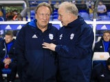 Cardiff City manager Neil Warnock chats to assistant Kevin Blackwell in October 2017
