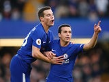 Pedro celebrates with Cesar Azpilicueta after scoring the third during the Premier League game between Chelsea and Stoke City on December 30, 2017