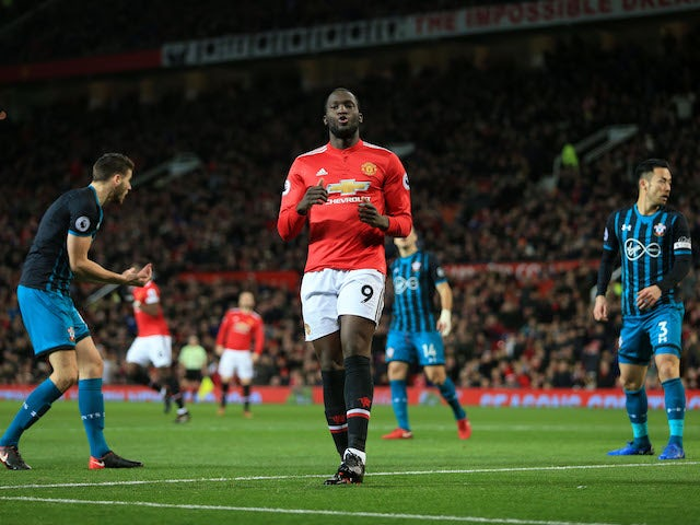 Romelu Lukaku pictured after missing a header during the Premier League game between Manchester United and Southampton on December 30, 2017