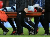 Romelu Lukaku is stretchered off during the Premier League game between Manchester United and Southampton on December 30, 2017