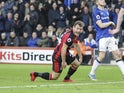 Ryan Fraser celebrates getting the opener during the Premier League game between Bournemouth and Everton on December 30, 2017