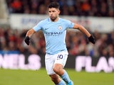 Sergio Aguero in action during the Premier League game between Newcastle United and Manchester City on December 27, 2017